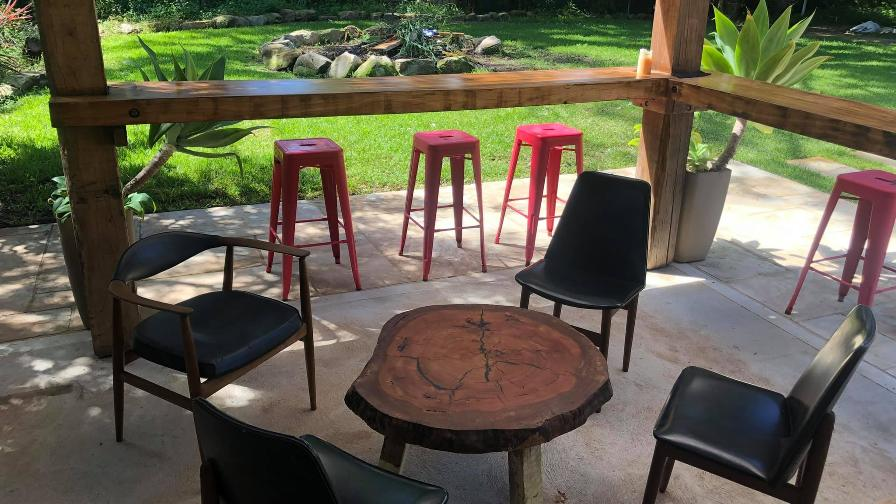 Outdoor seating area with wood table