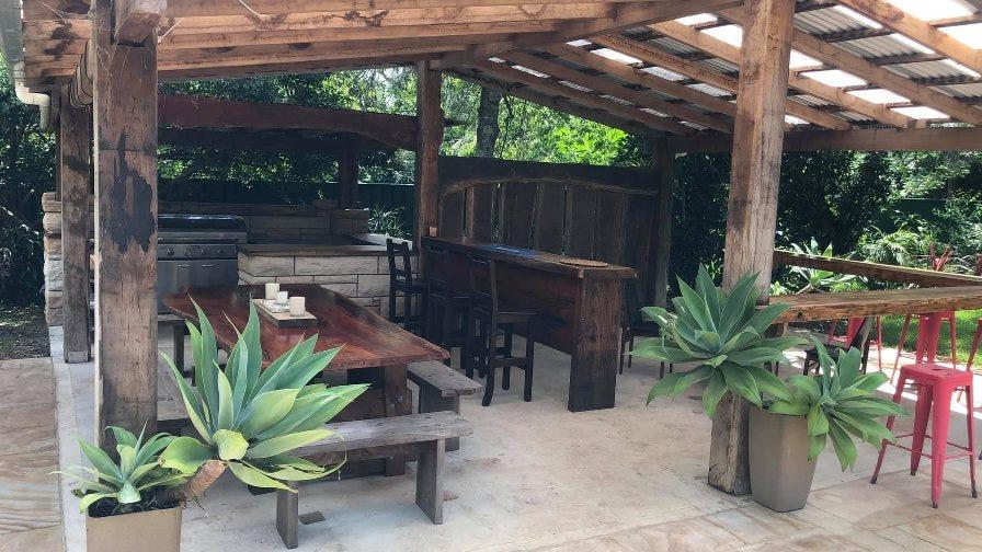 Outdoor wooden kitchen