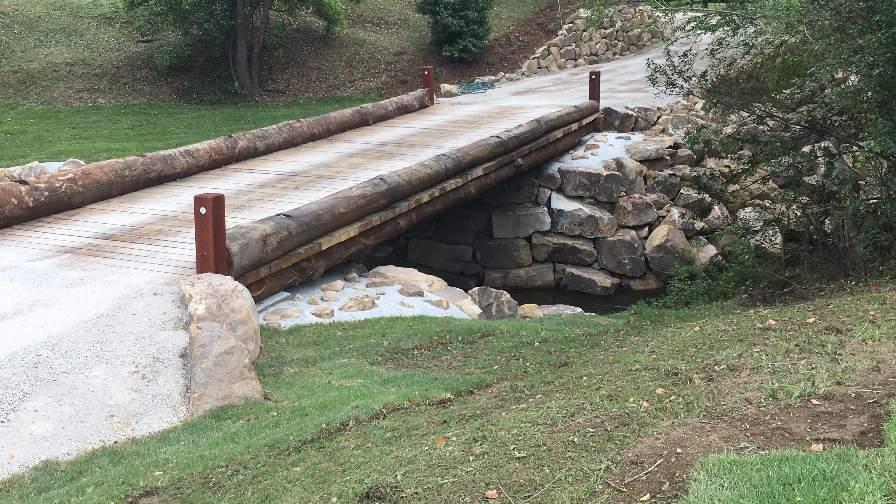 Wood vehicle bridge