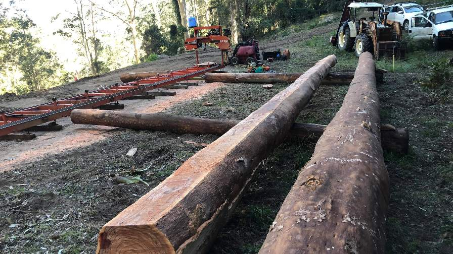 Long log sawing with sawmill