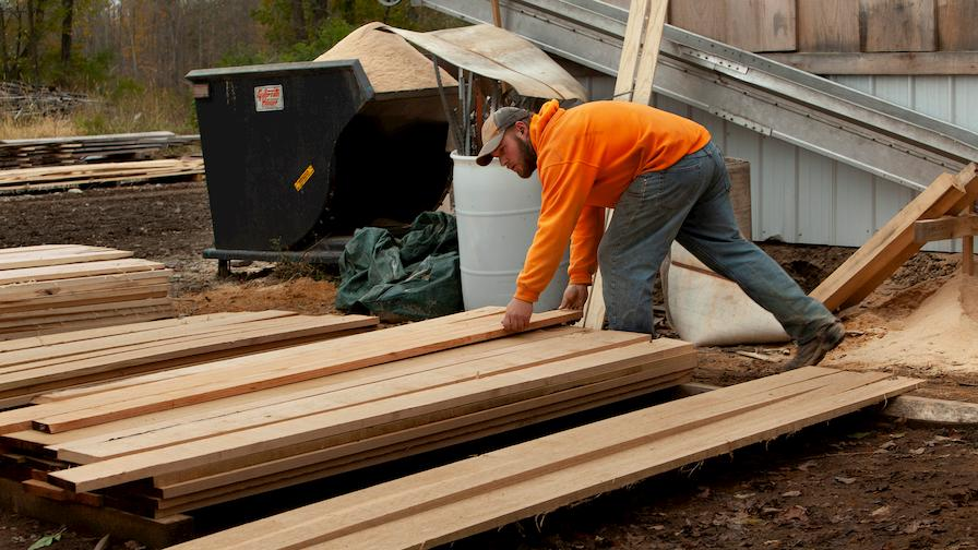 Luke stacking cut boards