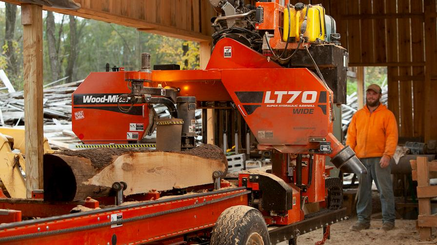 Wood-Mizer LT70 Wide portable sawmill in action