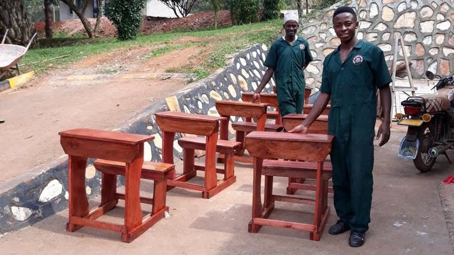 Narrow Gate wooden desks