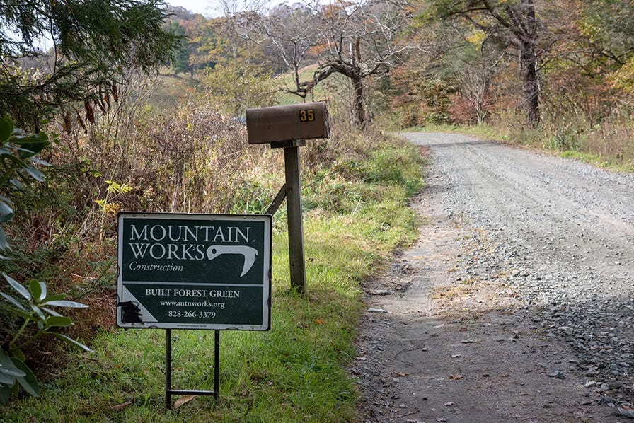 Mountain works sign