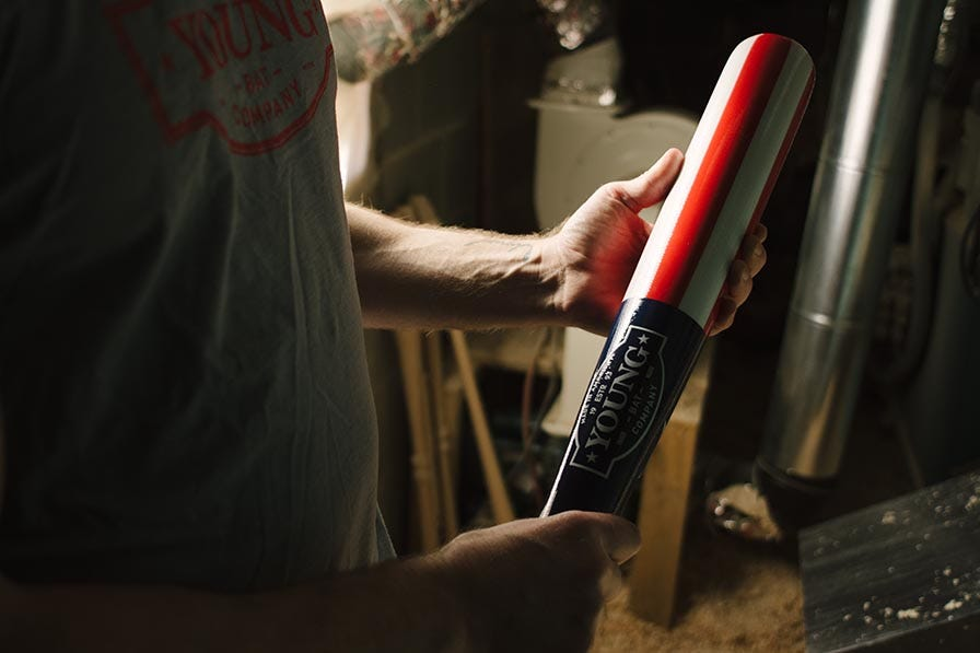 Wooden baseball bat made in the USA