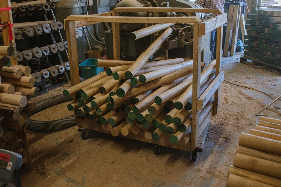 Stacked wood dowels