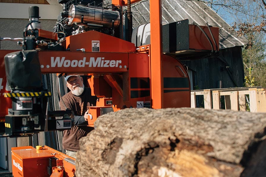 Sawing on Wood-Mizer LT40 portable sawmill