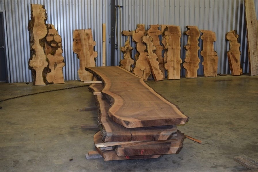 Large wood slabs stacked