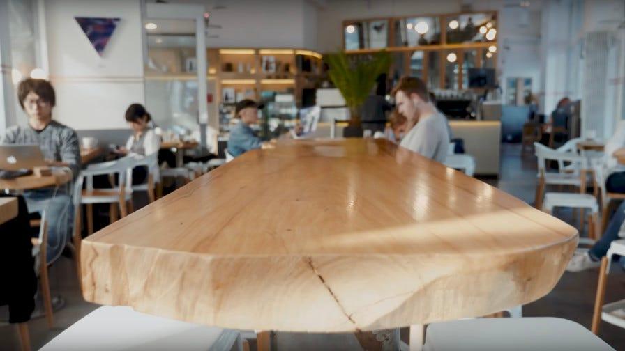 Custom wood table in coffee shop