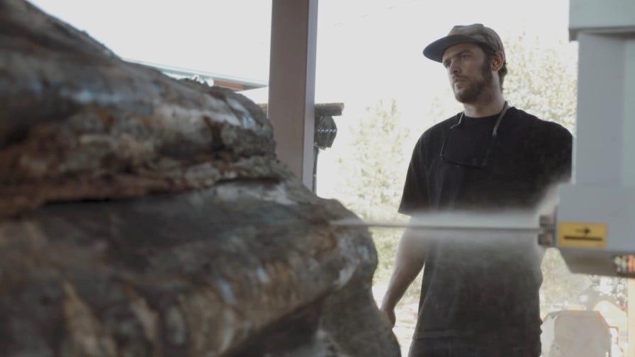 Wood-Mizer WM1000 blade cutting massive log